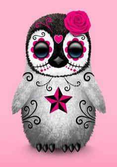 Pink Day of the Dead Sugar Skull Penguin