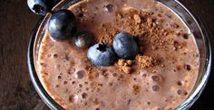 Chocolate Blueberry Smoothie - 1 cup frozen blueberries, 2 tsp cocoa powder, 1 cup milk,1/4 tsp vanilla extract, 1 dash cinnamon,1 dash nutmeg, 2 tsp maple syrup (or agave). Blend all ingredients together until smooth.