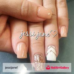 Jjf Nails by jessijanef via Nail Art Gallery #nailartgallery #nailart #nails #gel #glitter #gelnails #spring #peach #white #rosegold