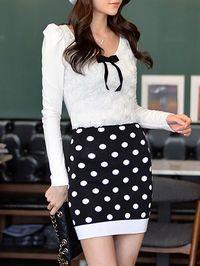 Knitted Dot Print Mini Skirt