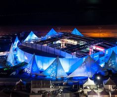 Qatar world cup fan zone in 2014 - we provided a dynamic tensile fabric sail facade.