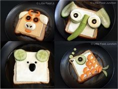 Fun food kids toast fish fisch brot bread elephant Elefant koala stier tiere animals easy cheese carrots cucumbr gurke käse gouda breakfast frühstück eifnach schnell oliven olives