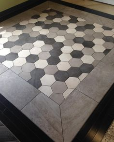 Check out one of our newest tile combinations. Love the hexagons. #carpetonerd #tile #tiledesign #hexagontile #interiordesign #interiordecorating #flooring #casaroma by angilldesign