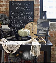 Few items place together make more impact then scattered around... a book of poems, old typewriter and another quote board makes a fantastic vignette.  Perfect for our Halloween BEWARE THE BIRDS!  Edgar Allen Poe & Alfred Hitchcock Black & White Party.