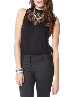 Lace yoke sleeveless top $12.99  #lace #sleeveless #dressy #top