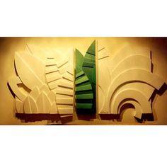 Goca Moreno - Folhas! Relevo em madeira pintado com 200x100cm