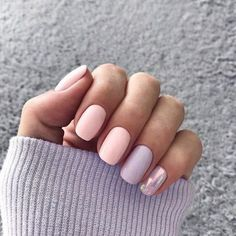 girlie soft pastel nails with pink and purple nail polish colors | Spring Nails #nails #manicure