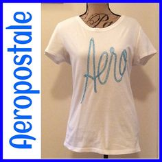 Aeropostale Sequin T-Shirt White tee with light blue sequin beads to compliment the brand Aeropostale! In good condition. 100% cotton. Care instructions: machine wash cold gentle cycle. Bleach when needed. Aeropostale Tops Tees - Short Sleeve