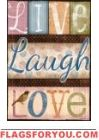Live, Laugh, Love Garden Flag Love Garden, House Flags, Live Laugh Love, Room Lights, Garden Flags, Dorm Room, Valentines, Inspirational, Bright