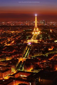 Night view of Paris with Eiffel Tower by isarescheewin, via Flickr