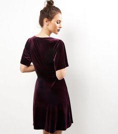 a32066858e Dark Purple Velvet Wrap Front Dress Wrap Front Dress