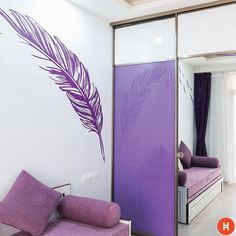 The kid wanted the theme to be purple, so we designed an Armadio wardrobe with lavender lacquered glass. The mirror and white laminates make the room appear larger. Blue Bedroom, Trendy Bedroom, Modern Bedroom, Master Bedroom, Glass Wardrobe, Bedroom Wardrobe, Bedroom Furniture Makeover, Bedroom Decor, Small Space Bedroom