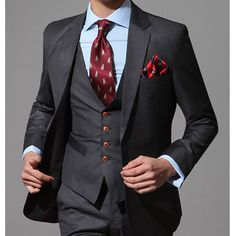 men s slim fit 2-Button suit  The Red buttons look great with the red tie!