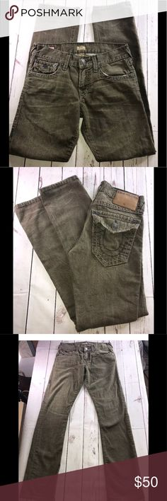TRUE RELIGION Men's 29x32 RICKY Relaxed Jeans TRUE RELIGION Men's RICKY Relaxed Straight Jeans Size 29 X 32 Army Green Cool!!