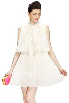 ROMWE   Bow-tied Pleated Sleeveless Cream Dress, The Latest Street Fashion #ROMWE