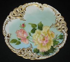 ANTIQUE HP NYMPHENBURG BAVARIAN CHINA PLATE ARTIST M.H.M. 1897 RETICULATED RIM