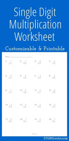 Single Digit Multiplication Worksheet - Customizable and Printable