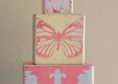 Butterfly Stackable Nursery Blocks from Etsy Store, Shugabee Lane. I like these just to put on a shelf...$44.00. #Etsy, #Decor,#Pink, #Blocks