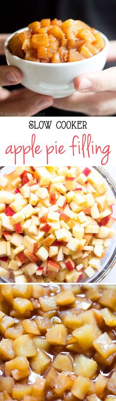 Slow Cooker Apple Pie Filling -- the easiest recipe you'll ever make! It's clean-eating, SO much better than canned & healthy enough for breakfast too! Making this as a mug dessert Slow Cooker Apples, Slow Cooker Recipes, Crockpot Recipes, Cooking Recipes, Fruit Recipes, Fall Recipes, Holiday Recipes, Dessert Recipes, Crock Pot Desserts