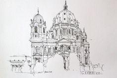 Berliner Dom, sketch, 38x27cm, pen