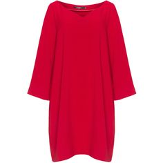 Mat Red Plus Size V-neck A-line dress (4,360 PHP) ❤ liked on Polyvore featuring dresses, plus size, red, women's plus size dresses, womens plus dresses, stretch dress, v neck dress and long sleeve loose dress