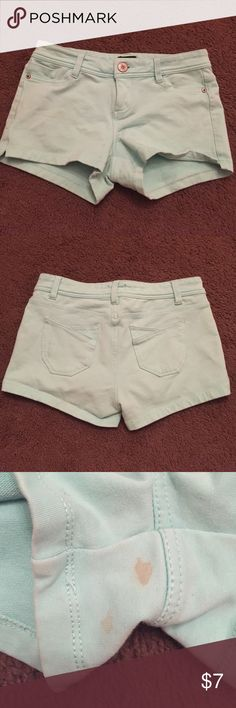 Sea foam green shorts! Low rise Cotton spandex blend low rise shorts from wetseal they have a two small stains near the crotch that you can't see at all when worn. The last picture is to show the true color. Only the shorts are available! Wet Seal Shorts