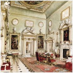 The great hall at Ditchley, designed by Sibyl Colefax in collaboration the Trees. The watercolor by Alexandre Serebrikoff shows William Kent's paintings of Venus and Aeneas flanking the doorway.