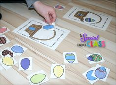 A special kind of class: Easter Fun and a Freebie sort the eggs into the correct basket.