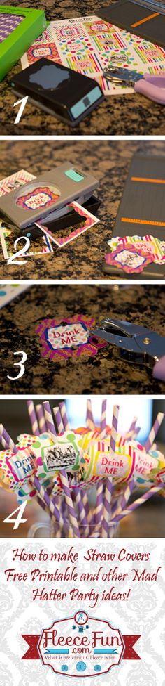 Make fun straw toppers for your Mad Hatter Tea Party with this free printable!