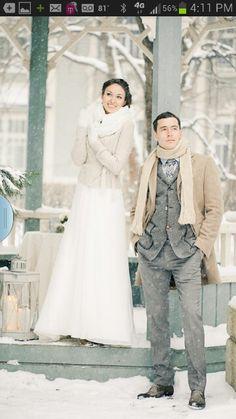 Wonderful attire Winter Wedding Coat, Winter Wedding Attire, Snowy Wedding, Winter Wonderland Wedding, Wedding Pics, Wedding Groom, Dream Wedding, Wedding Dresses, Winter Weddings
