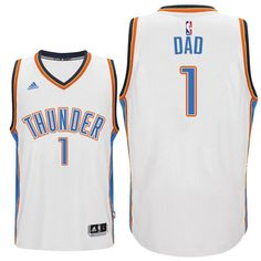 Father's Day Gift-Oklahoma City Thunder #1 Dad Logo White Home Swingman Jersey