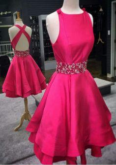 Noble Homecoming Dress,O-neck Homecoming Dress,Satin Graduation Dress, Backless Short Prom Dress,A-Line prom dress