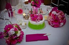 All pink and green wedding