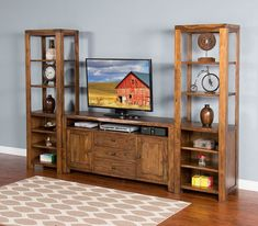 Cary Live Edge Entertainment Wall Sunny Designs in Entertainment Centers and Walls. The Cary Entertainment Collection by Sunny Designs is a collection that is perfect as the center of attention in your room. Tv Entertainment Centers, Console, Entertaining, Live, Projects, Room, Furniture, Design, Home Decor