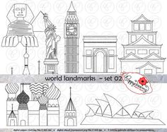 World Landmarks Line Art (set Digital Clip Art: Sydney Opera Statua Liberty Big Ben Sphinx Hiroshima Castello St Basil Travel Hiroshima, St Basil's, Arts Ed, Sydney, Line Art, Birthday Invitations, Big Ben, Liberty, Digital Art