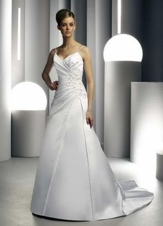 A-Line Sexy V-Neckline Spaghetti Straps with Beading and Ruffles Zipper Satin Wedding Dress