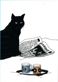 lmsgfbn: Cat and Newspaper Sue Boettcher Art And Illustration, Illustrations, I Love Cats, Crazy Cats, Black Cat Art, Black Cats, Cat Drawing, Cat Lovers, Collage