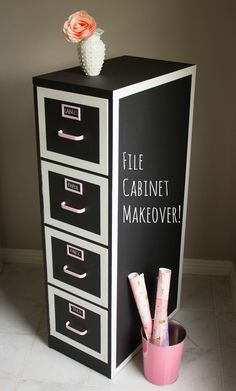 Turn an old file cabinet into pretty craft supply or toy storage. It's covered in chalkboard paint so you can draw on it too! || http://www.designimprovised.com