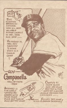 Dodgers Blue Heaven: Roy Campanella Original Drawing by Bob Parker - A Former Topps Cartoonist