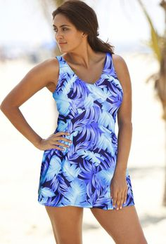 Beach Belle Laguna Plus Size V Neck Swimdress From The Plus Size Fashion Community At www.VintageAndCurvy.com