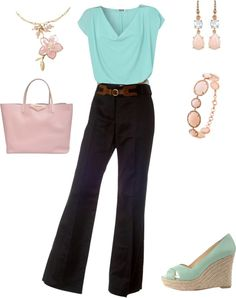 Pastel for spring - work outfit, created by tranbr on Polyvore