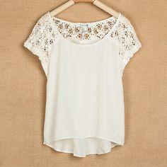 Lace Stitching Short Sleeve Chiffon Shirt ($24.99)