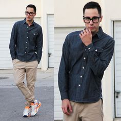 """What I Wore Wrapped in Chambray Chambray shirt by Levi's Chinos by Hot Topic Air Max sneakers by Nike Glasses by Tom Ford Get the look Get social """" Wrapped in Chambray? Winter Outfits, Men's Outfits, Fashion Outfits, Winter Clothes, Fashion Ideas, Fashion Shoes, Levis Shirt, Purple Jacket, Classic Chic"""