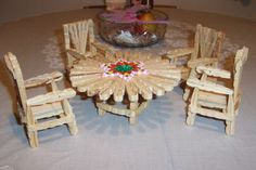 Clothespin Doll Furniture. My grandpa made 1 piece of furniture for the granddaughters every Christmas.