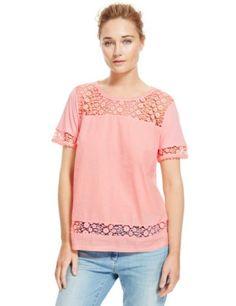 Pure Cotton Floral Lace Panelled Top | M&S