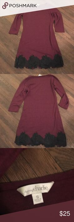 Maroon and Black Lace Dress Loooove this dress!! Super pretty on and very soft! Willing to sell for $15 via ♈️enmo or 🅿️aypal! Charming Charlie Dresses Long Sleeve