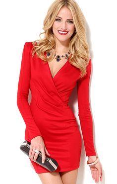 Red V Neck Long Sleeve Slim Bodycon Dress 17.17