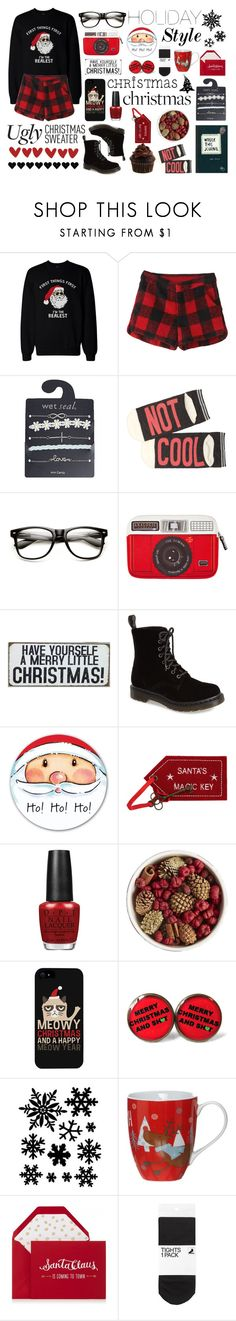 """""""a merry little christmas!"""" by nildaa ❤ liked on Polyvore featuring Wet Seal, dELiA*s, Woouf!, Dr. Martens, OPI, Pier 1 Imports, LG, Humör, Linea and H&M"""