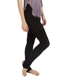 Look what I found on #zulily! Black Fleece-Lined Stirrup Tights - Women by Plush #zulilyfinds