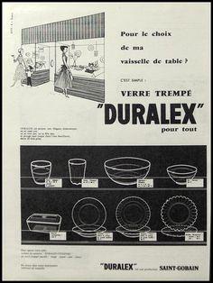 PUBLICITE  DURALEX SAINT GOBAIN  VERRE CUISINE  DESIGN ANNEES 50' 60'   AD  1956